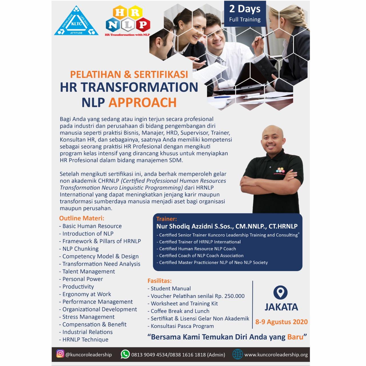 PROGRAM PELATIHAN DAN SERTIFIKASI HR TRANSFORMATION NLP APPROACH