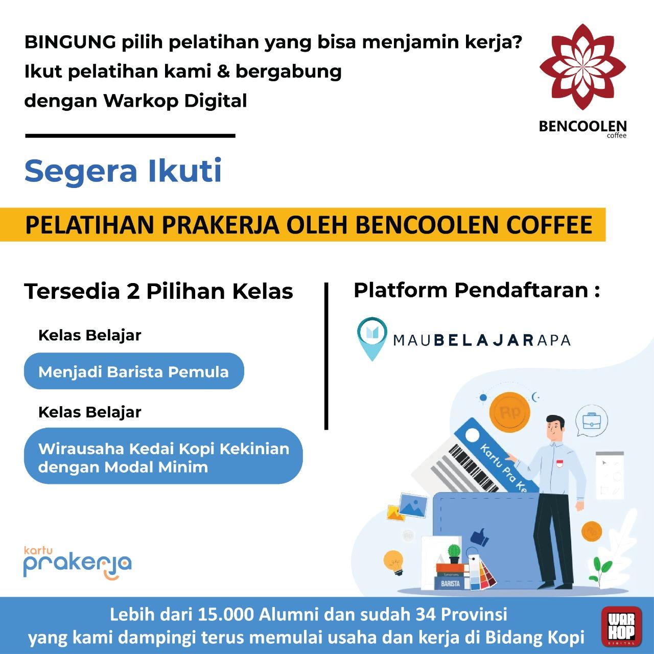 Pelatihan Prakerja di Bencoolen Coffee 2021