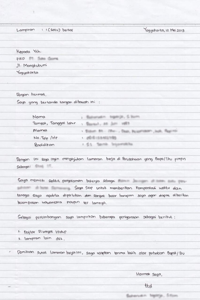 Contoh Surat Lamaran Kerja Tulis Tangan Yang Baik Dan Benar Loker Jakarta Blog
