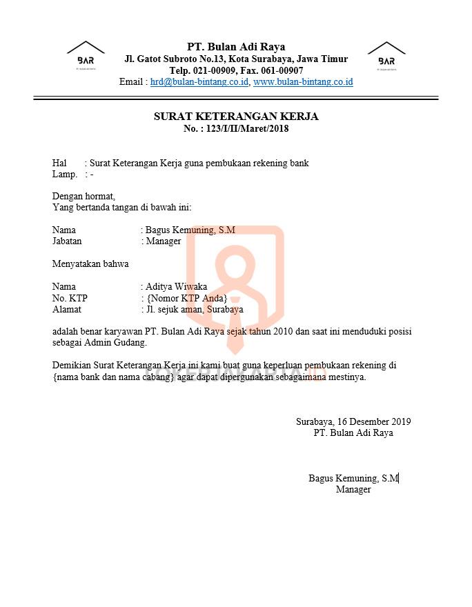 Contoh Surat Keterangan Kerja Perusahaan Untuk Bank