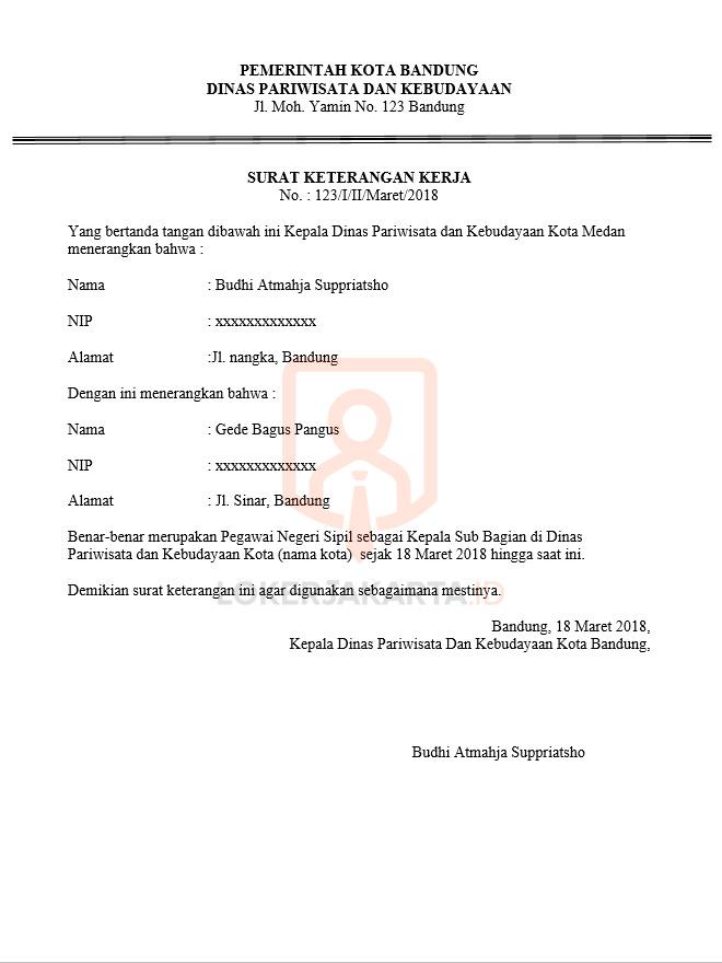 Contoh Surat Keterangan Kerja PNS
